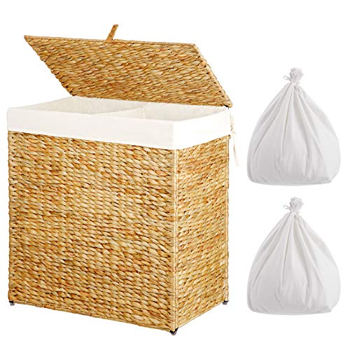 Greenstell Laundry Hamper with 2 Removable Liner Bags, Divided Seagrass Hampers, Handwoven Laundry Basket with Lid and Handles, Foldable and Easy to Install Clothes Basket Natural (22x12x24 Inches)