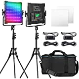 Pixel RGB LED Video Lighting Kit, 50W Studio Video Lights for YouTube Photography Lighting, 2 Packs Led Light Panel with Memory Function, 552PCS Beads, 2600K-10000K, 7000Lux@0.5M, 9 Lighting Secens