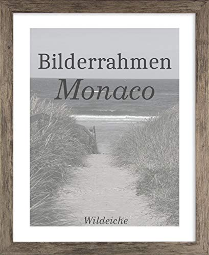 Homedeco-24 Monaco MDF Bilderrahmen ohne Rundungen 40 x 60 cm Größe wählbar 60 x 40 cm Wildeiche Optik mit Antireflex-Acrylglas 1 mm