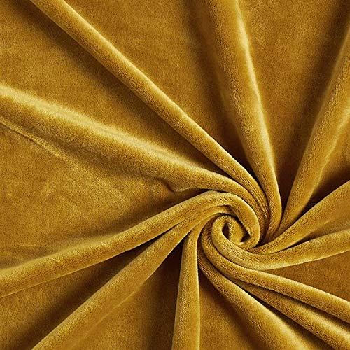 Fabulous Fabrics Samt senf, Uni, 150cm breit – Samt zum Nähen von Jacken, Hosen und Kleidern – Meterware erhältlich ab 0,5 m