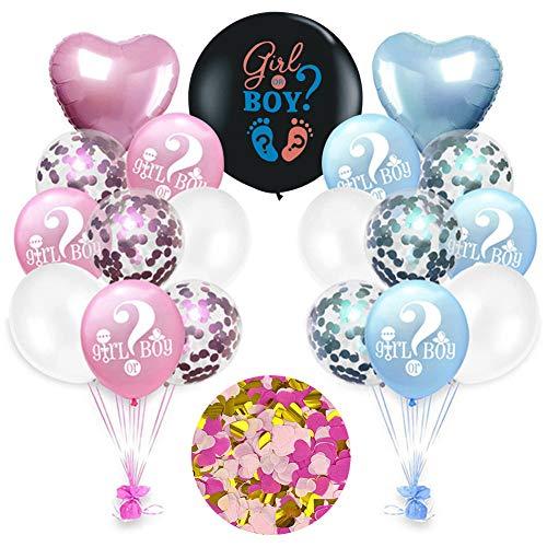 Gender Reveal Party Kit, Boy or Girl Confetti Neri Palloncino, Baby Shower Decorazioni con Gender Reveal Palloncino, Bambino genere svelare forniture per feste