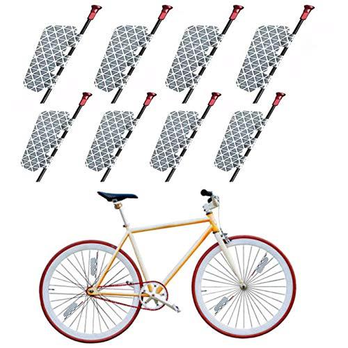 Pegatina para Bicicleta, 8Pcs Pegatina Reflectora de Bicicleta Altamente Reflectante Tira Reflectante de Brillo Blanco Plateado para Bicicleta de Montaña Juego de Película Reflectante para Bicicleta