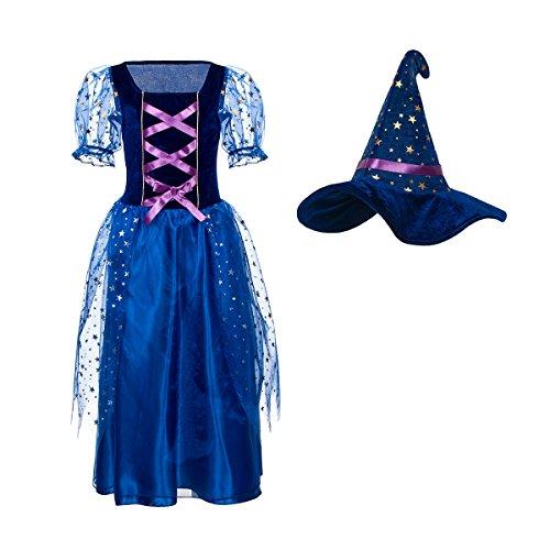 Kostümplanet® Hexenkostüm Kinder Mädchen Zauberer Kostüm komplett mit Hexenhut 104