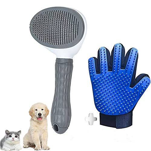 Guanto + Spazzola per Cani e Gatti, Pettine e Autopulente Toelettatura per Animali Domestici, Togliere Eccessi e Morti Peli Animali. (Guanto+Spazzola)