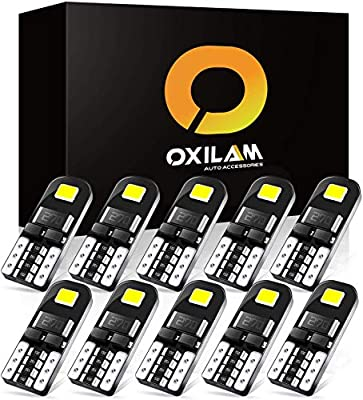 OXILAM 194 LED Bulbs Super Bright 6000K White with High Power Chipsets for T10 W5W 168 2825 LED Bulbs Replacement, Widely Used as Parking Lights Door Lights License Plate Lights (10 PCS)
