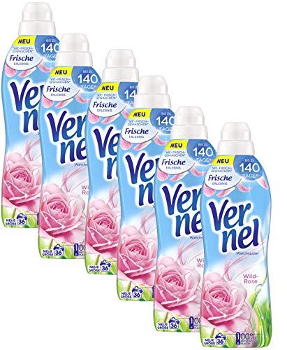 Vernel Wild-Rose, Weichspüler, Waschladungen, für einen langanhaltenden Duft und traumhaft weiche Wäsche (216 (6 x 36) Waschladungen)