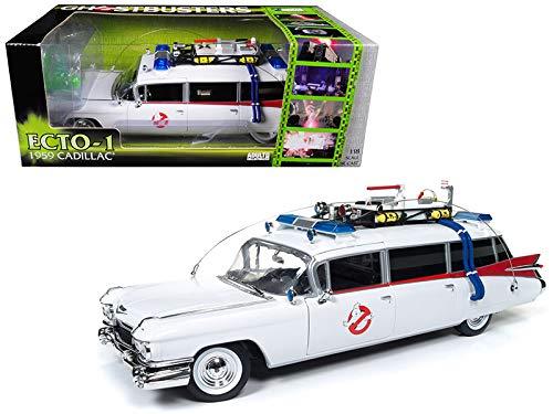 Auto World–Modelo de Coche Cadillac Ghostbusters Ecto 1(Escala 1/21, awss118, Color Blanco