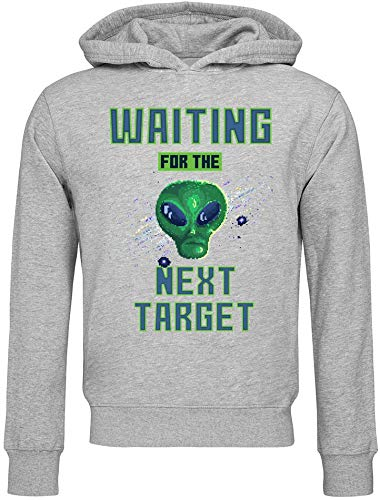 8 bit Pixel Art Alien Waiting For Target Attack Sudadera con Capucha Unisex Small