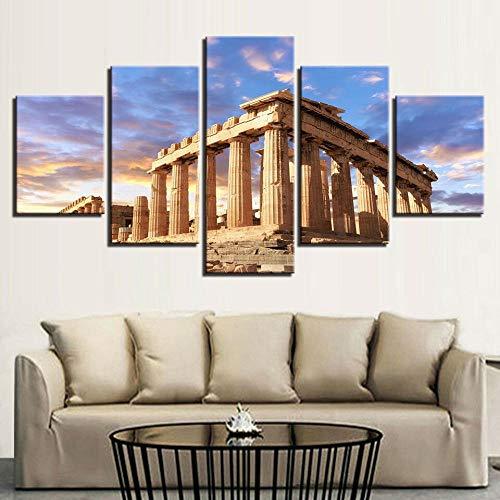 Cuadro en Lienzo 5 Pieza impresión Lienzo artística Pintura Diseño Cuadro Moderno Pared gráfica Tempio Partenone Acropoli Grecia Enmarcado