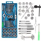 LQUIDE 40Pcs Metric Tap Wrench and Die Pro Set M3-M12 Nut Bolt Alloy Metal Hand Tools Hardware Tool Kits