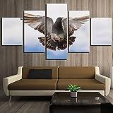 COCOCI Lienzo 5 Piezas Paloma Flying Bird Posters Animal Lienzos Decorativos Cuadros Grandes Baratos Cuadros Decoracion Cuadros para Dormitorios Modernos Cuadros Decoracion Regalos Personalizados