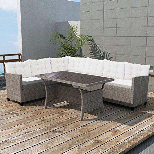 Tidyard Set Divano Angolare da Giardino 12 pz in Polirattan, Set di mobili da Giardino Grigio