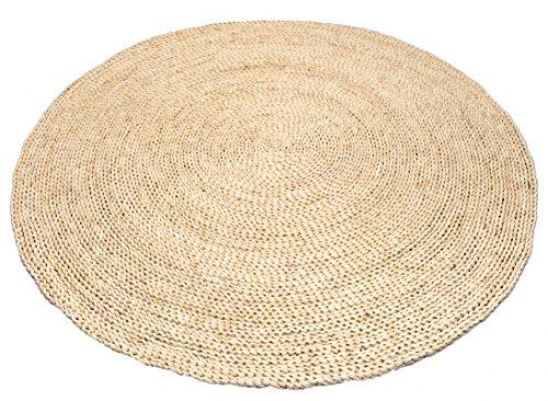 NaDeco Strohteppich schlicht 60cm rund Naturteppich Naturfaserteppich Strohteppich aus Maisstroh Maisstrohteppich Stroh Teppich Maisstroh Teppich Boho Teppich Wandteppich