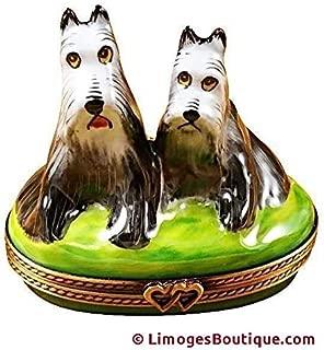 SALT & PEPPER SHNAUZERS DOG - LIMOGES PORCELAIN FIGURINE BOXES AUTHENTIC IMPORTS