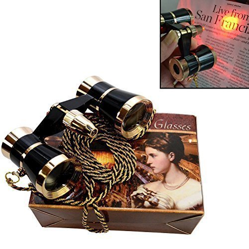 HQRP Prismáticos de ópera/Binocular de Teatro 3 x 25 Negro con Cadena Dorada y luz roja de Lectura