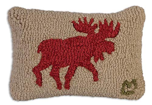 "Chandler 4 Corners Artist-Designed Red Running Moose Hand-Hooked Wool Decorative Petite Throw Pillow (8"" x 12"")"