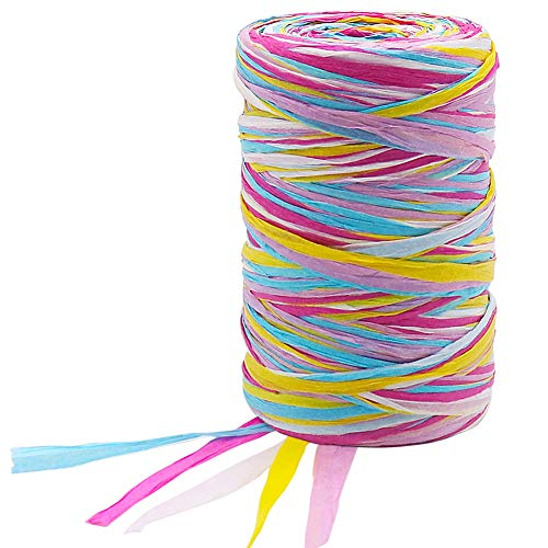 Vivifying Buntes Bastband, 100M Mattes Papierband für Geschenkverpackung, Basteln, Weihnachten, Hochzeit, Geburtstag, Party