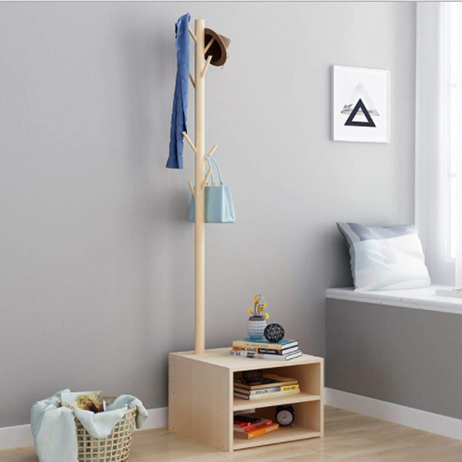 Coat rack hanger European coat rack bedroom hanger floor solid wood creative coat rack + cabinet for Garage Foyer Bedroom Office 170CM (H) (Size   C)