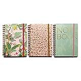 Cuadernos bonitos pack 3. Libreta A5 de notas en espiral con diseño elegante.