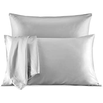 SLEEP ZONE Satin Pillowcases Temperature Regulation Set of 2 for Hair and Skin Standard/Queen 20x30 Pillow Cover (Queen, Silver Grey)