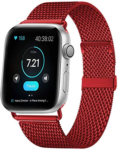 MouKou - Cinturino per Apple Watch Serie 5/4/3/2/1, 38 mm, 40 mm, 42 mm, 44 mm, maglia milanese con chiusura magnetica, cinturino di ricambio in acciaio inox, Champagne-nuovo, 44MM/42MM