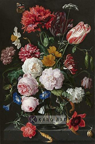 Karo-art - Afbeelding op acrylglas - Stilleven met bloemen in een glazen vaas, Jan Davidsz de Heem - Muurdecoratie