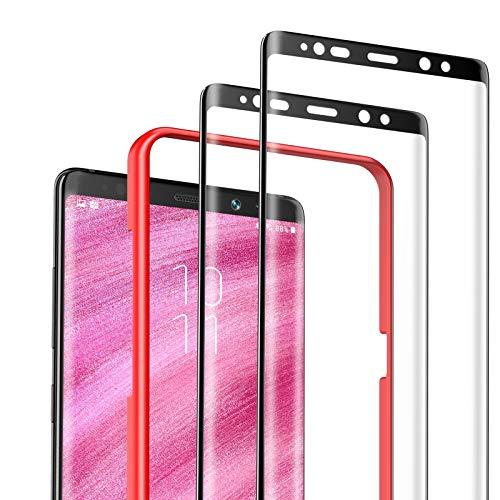 DEKOLY Panzerglas Schutzfolie für Samsung Galaxy Note 8 [2 Stück], 9H Festigkeit 3D Full Screen Ultra Dünn HD Panzerglasfolie, Anti-Öl, Kratzer, Blasenfrei - Schwarz