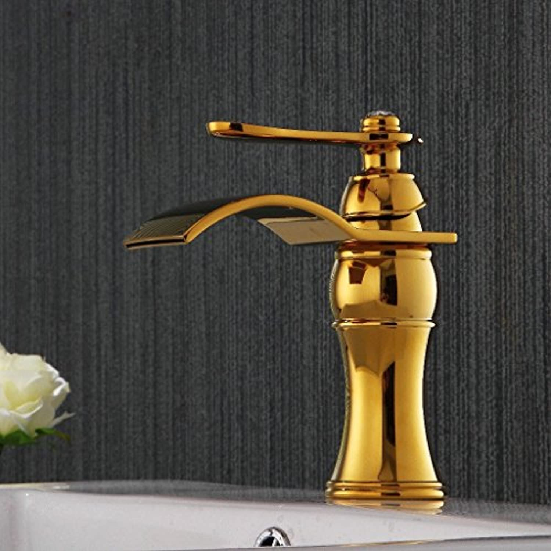 Bijjaladeva Wasserhahn Bad Wasserfall Mischbatterie WaschbeckenEdle Waschbecken Gold Jade Zapfhhne Badezimmerschrank Wasserhahn Mischen verGoldete Oberflche Waschbecken Normal)