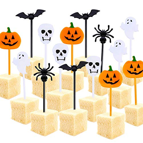 Tatuo Plastic Halloween Picks Halloween Cupcake Topper Picks Ghost Decor for Kids Birthday Party Themed Party (100)