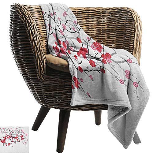ZSUO picknickdeken Natuur, Illustratie van de lente boomtak met bloesems zonnestralen op wazige achtergrond Roze Fuchsia Alle seizoenen Licht Gewicht Woonkamer/slaapkamer