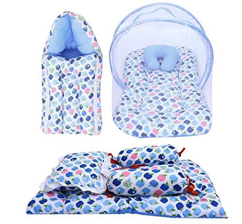 Fareto® Combo of Baby Mattress with Net | Sleeping Bag | 4 Pcs Bedding Set(0-6 Months)(PID: Blue Apple)