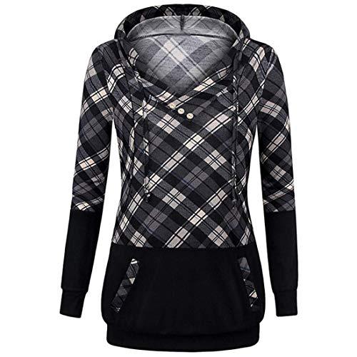 Women Hoodie Women Sweatshirt Comfortable V-Neck Checkered Patchwork Women Tops Slim Drawstring Zipper Nursing Wear Women Hoodie Gray. M