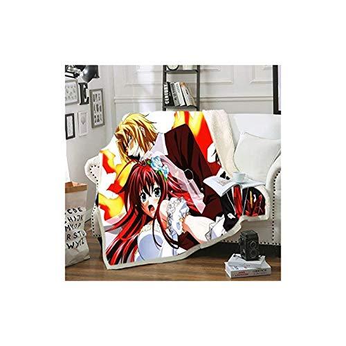 DOUBLE High School DXD, Soft Flannel Blanket Plush Cartoon Blanket Light Animation Blanket Bed Sofa Chair Living Room Home Office Travel Picknick Geschenk (Größe: 100 x 150 cm)