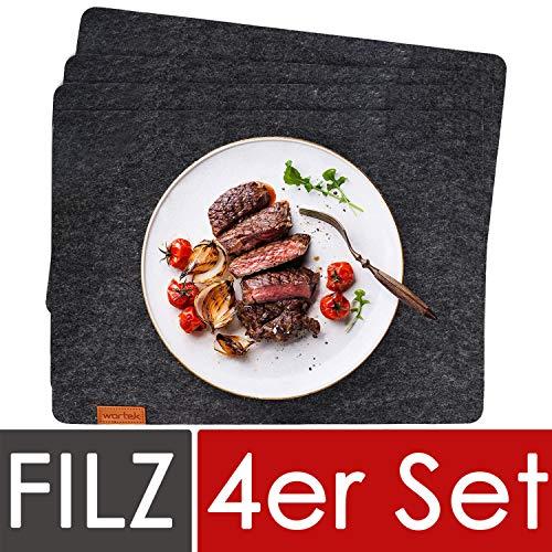 wortek Filz Platzset Anthrazit - Edles Deko Tischset aus Filz abwischbar 44x32cm - abwaschbare Platzdeckchen für Esstisch - Tischunterlage Schwarz - Dunkelgraue Tischdecken 4er Set