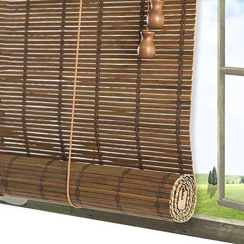 Store Bambou Exterieur QIANDA Venitien Enrouleurs, 60% Protection Solaire Intimité Écran Isolation Thermique Facile À Installer Intérieur, Toute Taille De 50cm À 170cm De Large