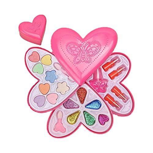 Maquillage pour filles étui compact, ensembles de maquillage pour enfants, boîte de rangement en forme de coeur, cosmétiques pour enfants, ensemble de beauté, cadeaux pour filles