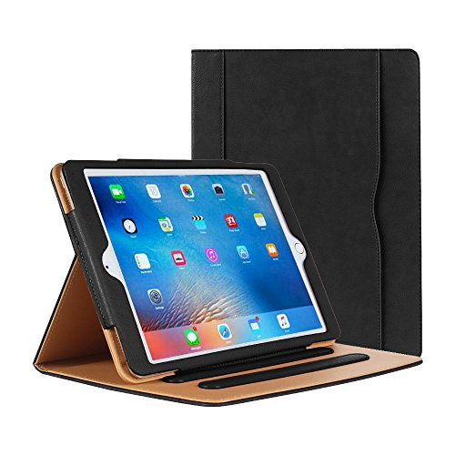 Danycase Case for iPad 2 iPad 3 iPad 4Case - Leather Stand Folio Case Cover for Apple iPad 2/3/4Case 2016, with Multiple Viewing Angles, Document Card Pocket (Black)