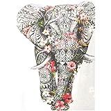 MXJSUA DIY 5D Diamond Painting Kits de perforación Redondos completos Rhinestone Picture Art Craft para la decoración de la Pared del hogar 30x40 cm Elefante con Flores