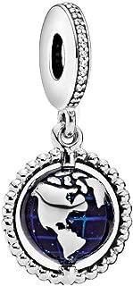 Fit Pandora Women's Bracelet Silver Spinning Globe/BFF Best Friend Forever/Sweet Sister/Charms Beads for European Bracelet/Necklace