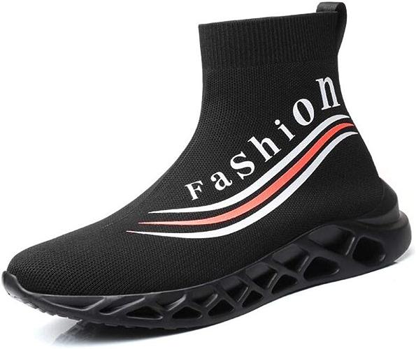 WYX Haut Haut Chaussettes Chaussures, Hommes Printemps Chaussures de Marche, léger Mens Sport Running athlétisme Chaussette baskets élasticité Chaussures pour Hommes,noir,39
