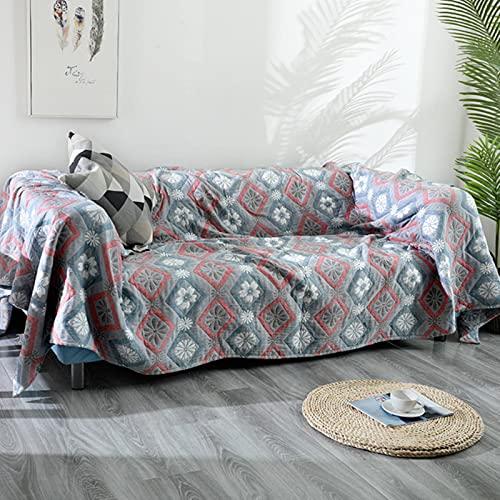 XITING - Copridivano in puro cotone Boemia per tutte le stagioni, motivo geometrico, per divano, divano, auto, ufficio, divano e copriletto