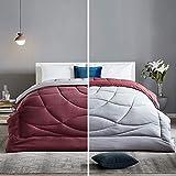 SLEEP ZONE All Season Comforter Down Alternative Temperature Regulation Reversible Duvet, Burgundy+Grey, Full/Queen