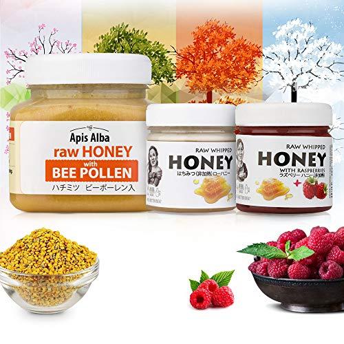 【Amazon.co.jp限定】 非加熱 無殺菌 ハニー セット品 ビーポーレン生はちみつ/純粋生はちみつ/ラズベリー生はちみつ ギフトセット 四季の味セット 4 Seasons Raw Honey Gift Set : Raw Honey with Be