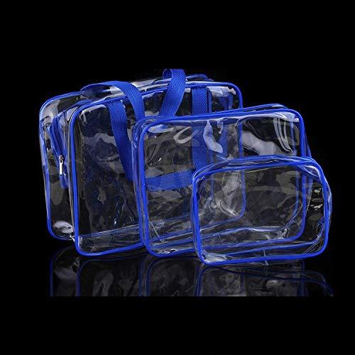 WEMUR Trousse de Toilette Maquillage Lavado Bolsa de Cosméticos Tres Piezas-Brown (Color : Blue)