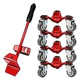 LVGADR Tres ruedas para mover muebles Dolly, de acero rojo de 15.2 cm, puede transportar fácilmente 800 libras de objetos pesados en casa, oficina o almacén (juego de cinco piezas)