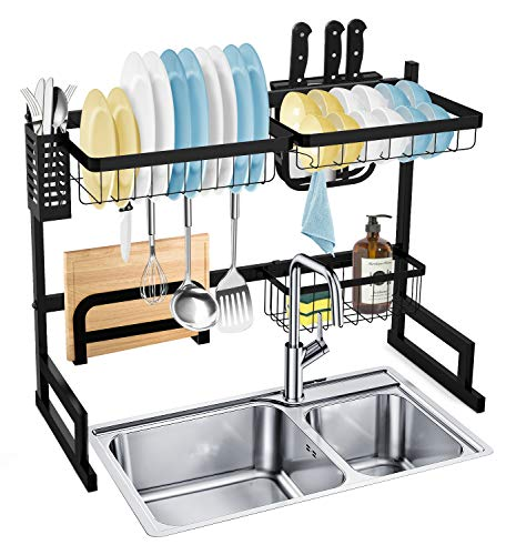 SOLEDI Over Sink Dish Rack, Stainless Steel Dish Rack Over The Sink Sturdy and Durable, Maximize Kitchen Space Easy to Assemble, Non-Adjustable Rack Size