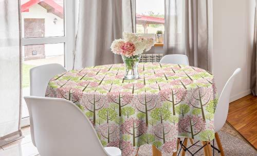 ABAKUHAUS Arbre Nappe Ronde, Est Cerise Blooms, Nappe en Cercle pour Salle à Manger ou Cuisine, 150 cm, Rose Vert Blanc