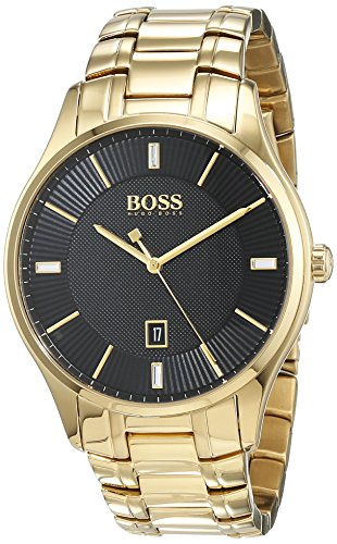 Hugo Boss Herren Datum klassisch Quarz Uhr mit Edelstahl Armband 1513521