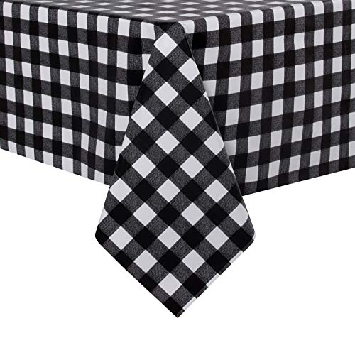 sancua Checkered Vinyl Rectangle Tablecloth – 54 x 78 Inch – 100% Waterproof Oil Proof Spill Proof PVC Table Cloth, Wipe Clean Table Cover for Dining Table, Buffet Parties and Camping, Black and White