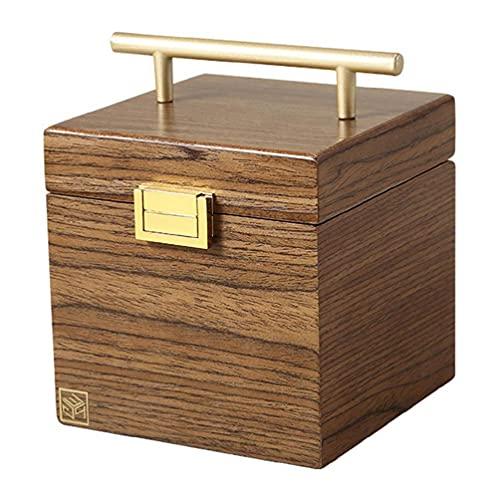 Joyero de madera grande de 3 capas, lujoso collar de pendientes de terciopelo, caja de escritorio, caja de almacenamiento de cosméticos